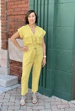 Red Door Mustard jumper with big pockets and button detail