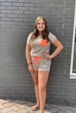 Red Door Leopard print shorts with neon trim