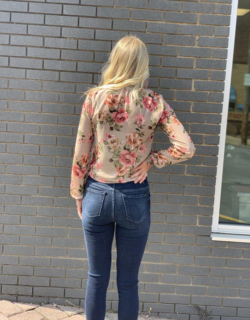 Red Door Taupe floral sheer top