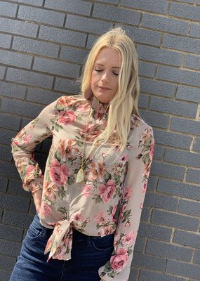 Red Door Taupe floral sheer top