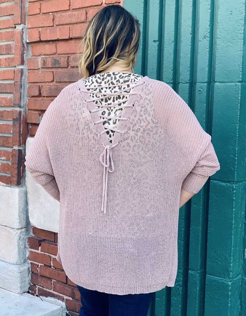 Red Door Mauve cardigan with lace up back
