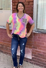 Red Door Neon Tie Dye Top w/ Leopard Detail