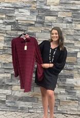 Red Door Swiss dot dress w/ cinched sleeves