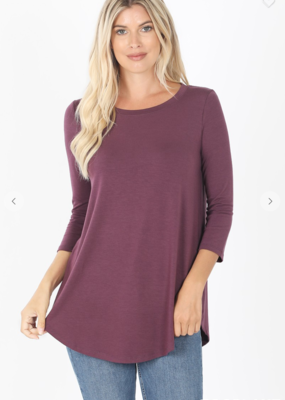 Red Door Round hem three quarter sleeve top