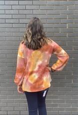 Red Door Sunset tie dye waffle knit top