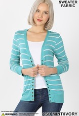 Red Door Striped snap button cardigan