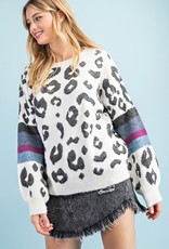 Red Door Fuzzy cheetah sweater with stripe sleeves