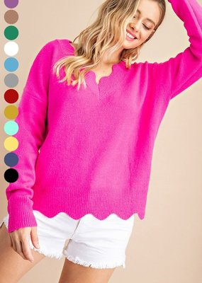 Red Door Hot pink fuzzy scallop edge sweater