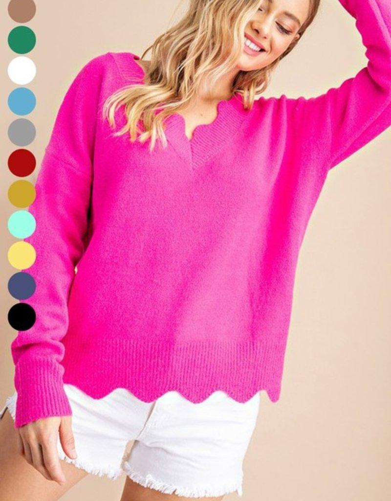 Red Door Hot pink fuzzy scallop edge sweater