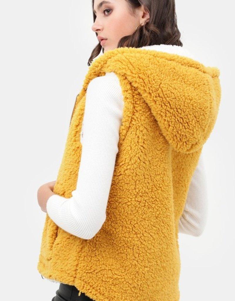 Red Door Fleece two tone hooded vest