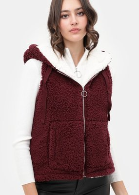 Red Door Fleece two tone hooded vest