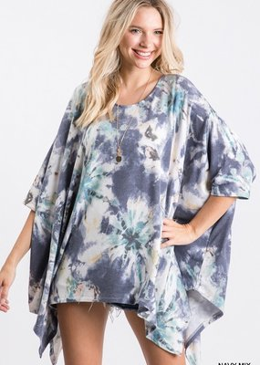 Red Door Pastel Navy Mix Poncho