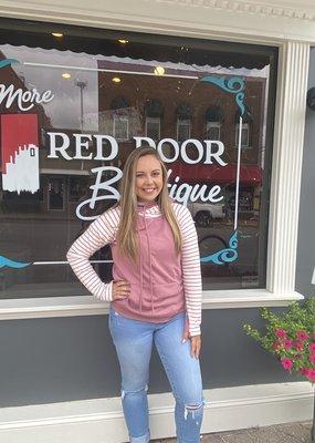 Red Door Pink striped side zip hooded sweater
