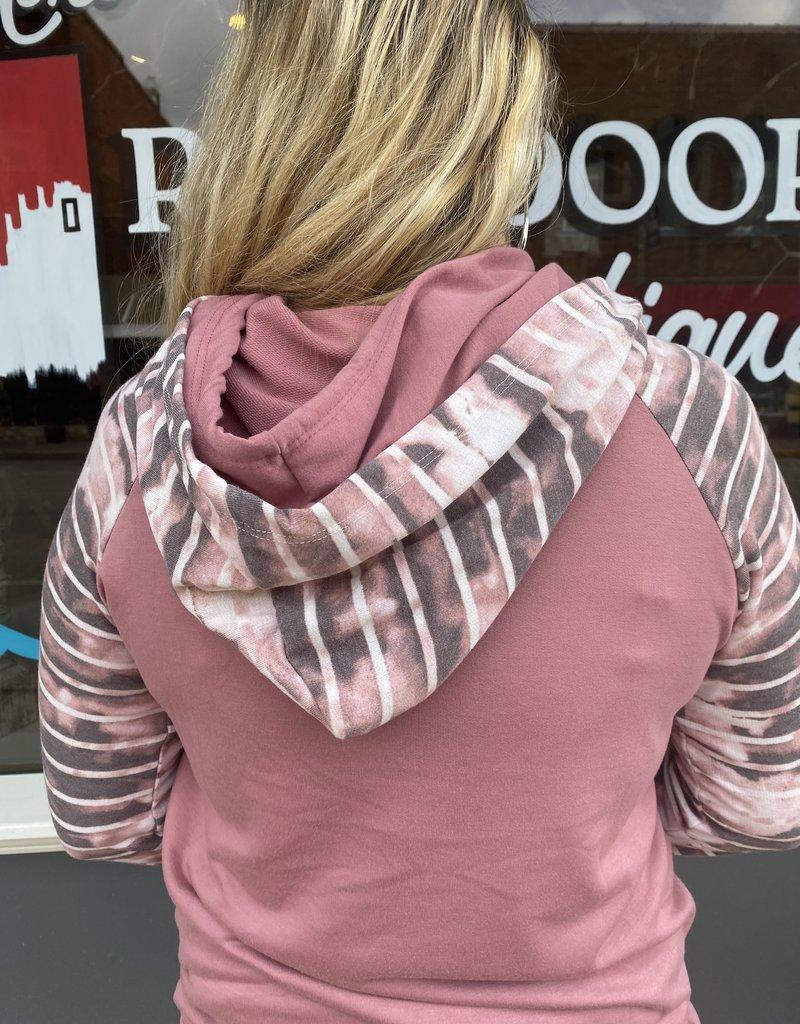 Red Door Marsala striped tie dye sleeve hoodie