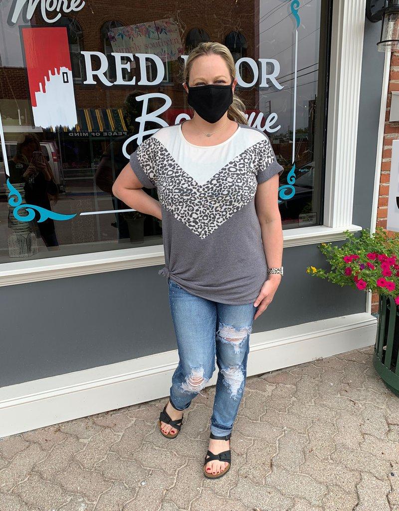 Red Door Gray leopard color block top