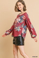 Red Door Wine waffle knit floral top