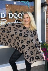 Red Door Mocha leopard oversize poncho top