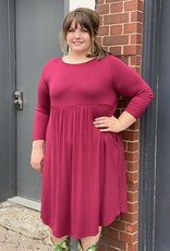 Red Door Babydoll ¾ sleeve dress w/ criss cross back