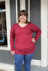 Red Door Soft V-neck solid sweater