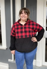 Red Door Buffalo plaid half zip pullover
