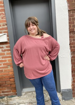 Red Door Marsala one shoulder top