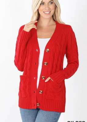 Red Door Cable knit button cardigan w/ pockets