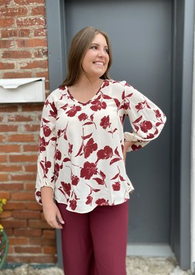 Red Door Ivory top with maroon floral