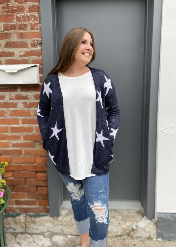 Red Door Navy cardigan with white stars