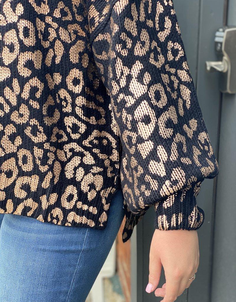 Red Door Black metallic leopard sweater