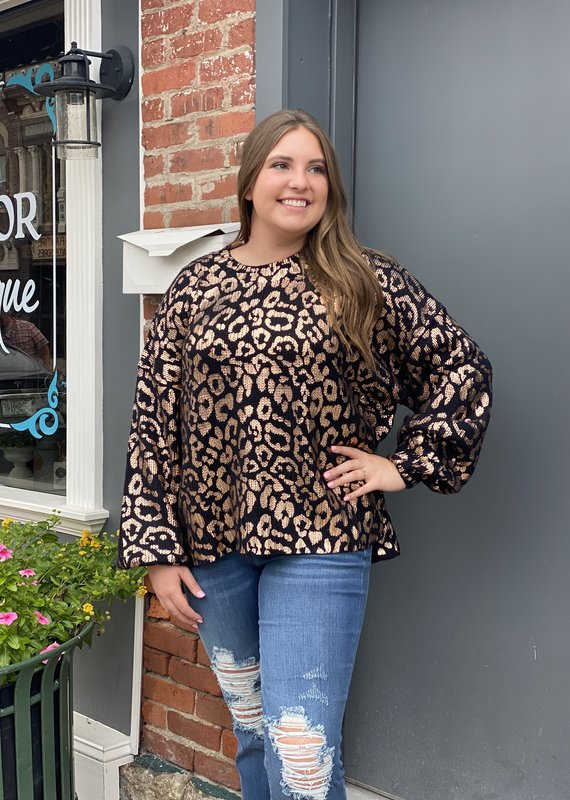 Red Door Black metallic leopard sweater