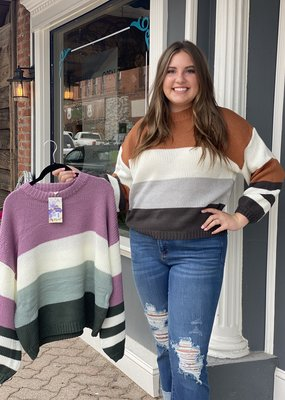 Red Door Striped chunky knit sweater