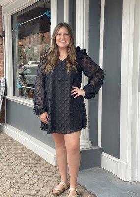 Red Door Black long sleeve swiss dot dress with ruffle sleeves