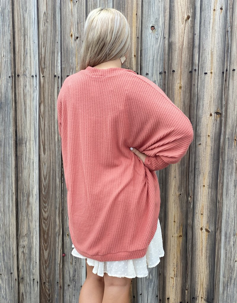 Red Door Curved dolman sleeve cardigan