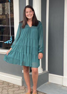Red Door Green ruffle peasant dress