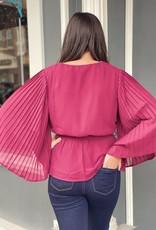 Red Door Burgundy pleated sleeve self tie top