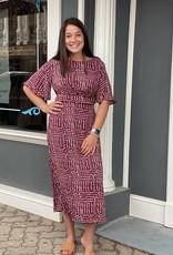 Red Door Wine dot print midi dress
