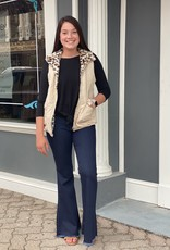 Red Door Tan vest with leopard lining
