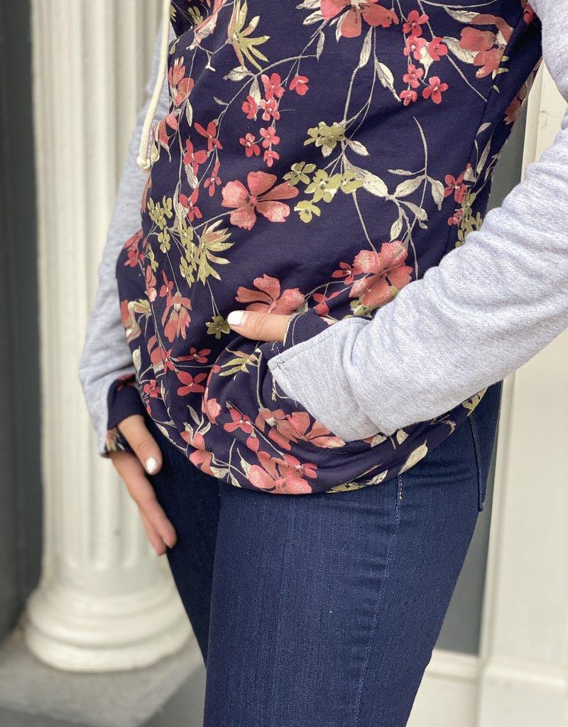Red Door Floral print hoodie w/ gray sleeves & faux zipper detail