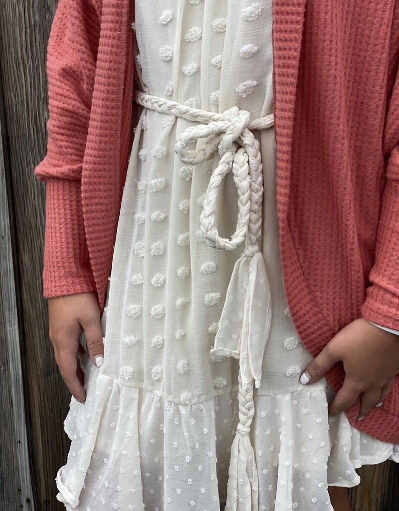 Red Door Cream swiss dot rope tie dress