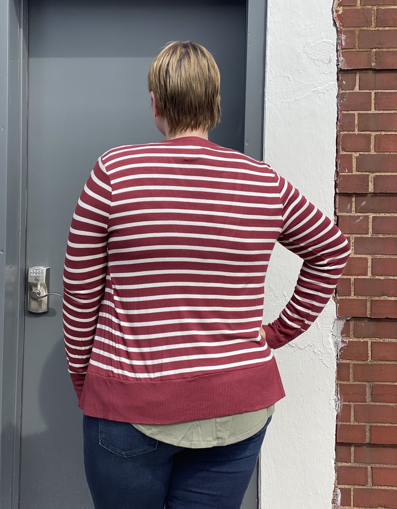 Red Door Striped snap button cardigan-Plus