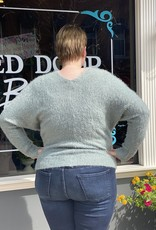 Red Door Seafoam V-Neck Fuzzy sweater