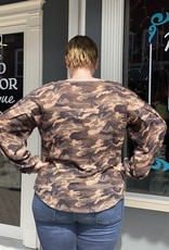 Red Door Camo waffle knit top with balloon sleeves
