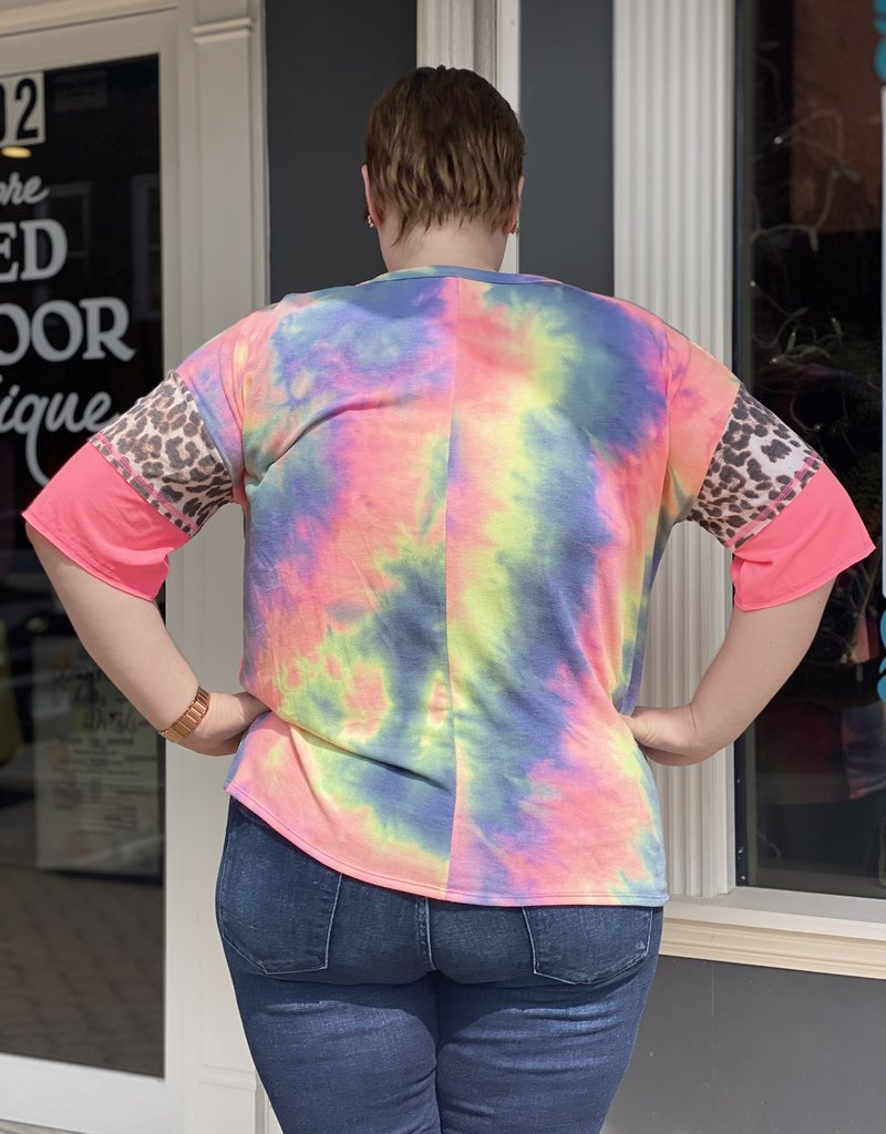 Red Door Neon tie dye leopard sleeve detail top