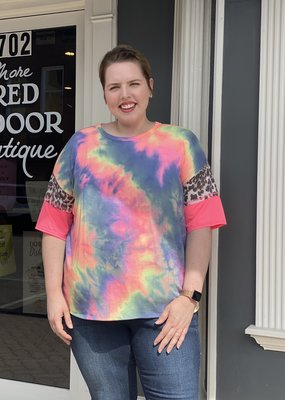 Red Door Neon tie dye leopard sleeve detail top
