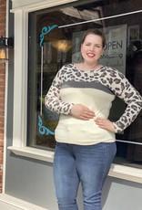 Red Door Ivory Color Block Top w/ leopard sleeve