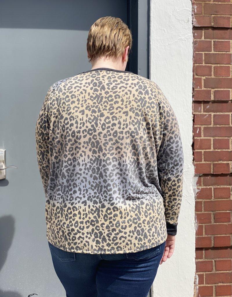 Red Door Taupe/charcoal tie dye leopard top