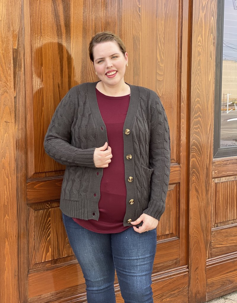 Red Door Cable Knit Cardigan w/ pockets- Plus