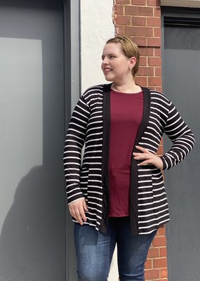 Red Door Striped slouchy cardigan- Plus