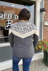 Red Door Leopard print color block top