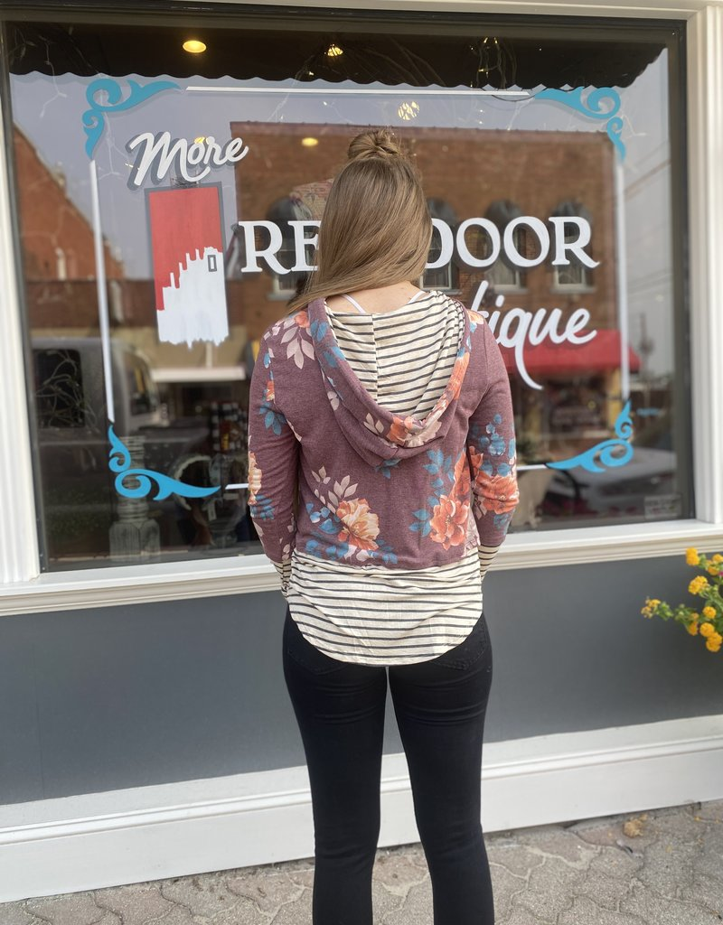 Red Door Floral sequin pocket hoodie